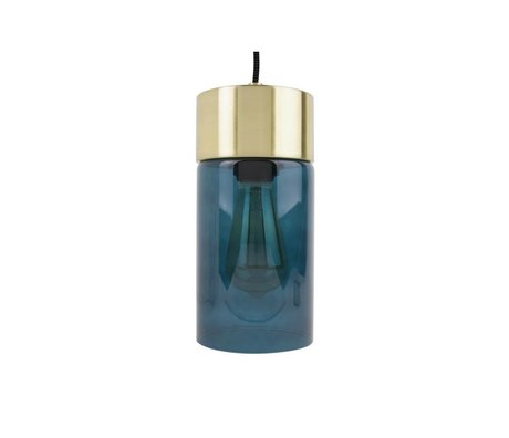 Leitmotiv Lax luz colgante de oro Ø12cmx24,5cm de cristal azul