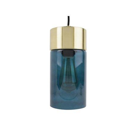 Leitmotiv Lax oro ciondolo luce vetro blu Ø12cmx24,5cm