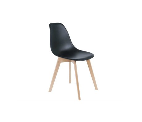 Leitmotiv Primaria cena la silla de plástico negro de madera 80x48x38cm