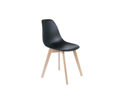 Leitmotiv Salle élémentaire Chaise bois plastique noir 80x48x38cm