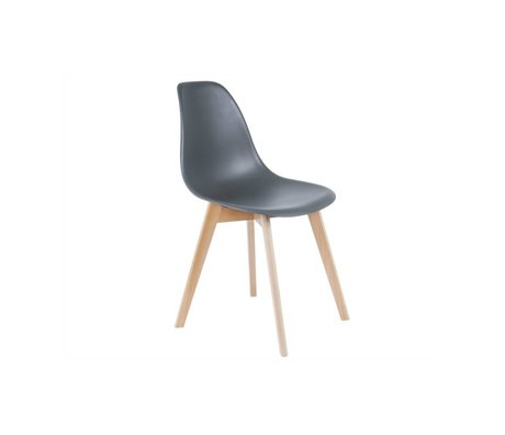 Leitmotiv Dining chair base gray plastic wood 80x48x38cm