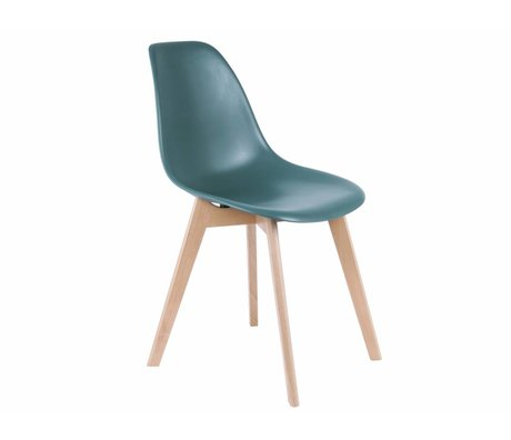 Leitmotiv silla de comedor elemental azul 80x48x38cm Madera Plástico