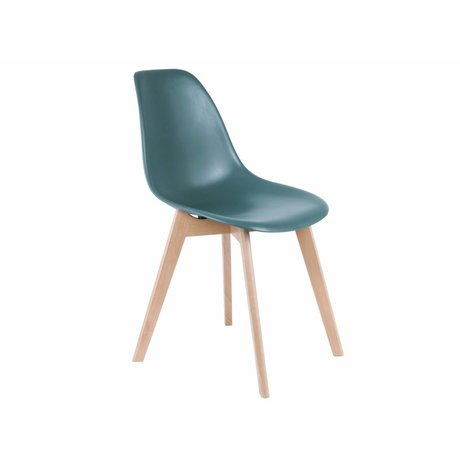 Leitmotiv Dining chair elemental blue plastic wood 80x48x38cm