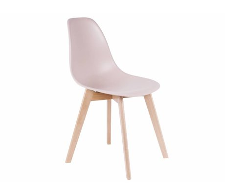 Leitmotiv Dining chair elemental light pink plastic wood 80x48x38cm