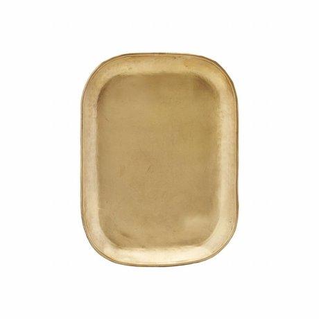 Housedoctor Plateau riche 26.5x19.5x1cm en métal doré