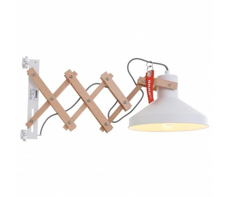 Anne Lighting Wandleuchte Woody scissors white metal wood metal ø23x40-66cm