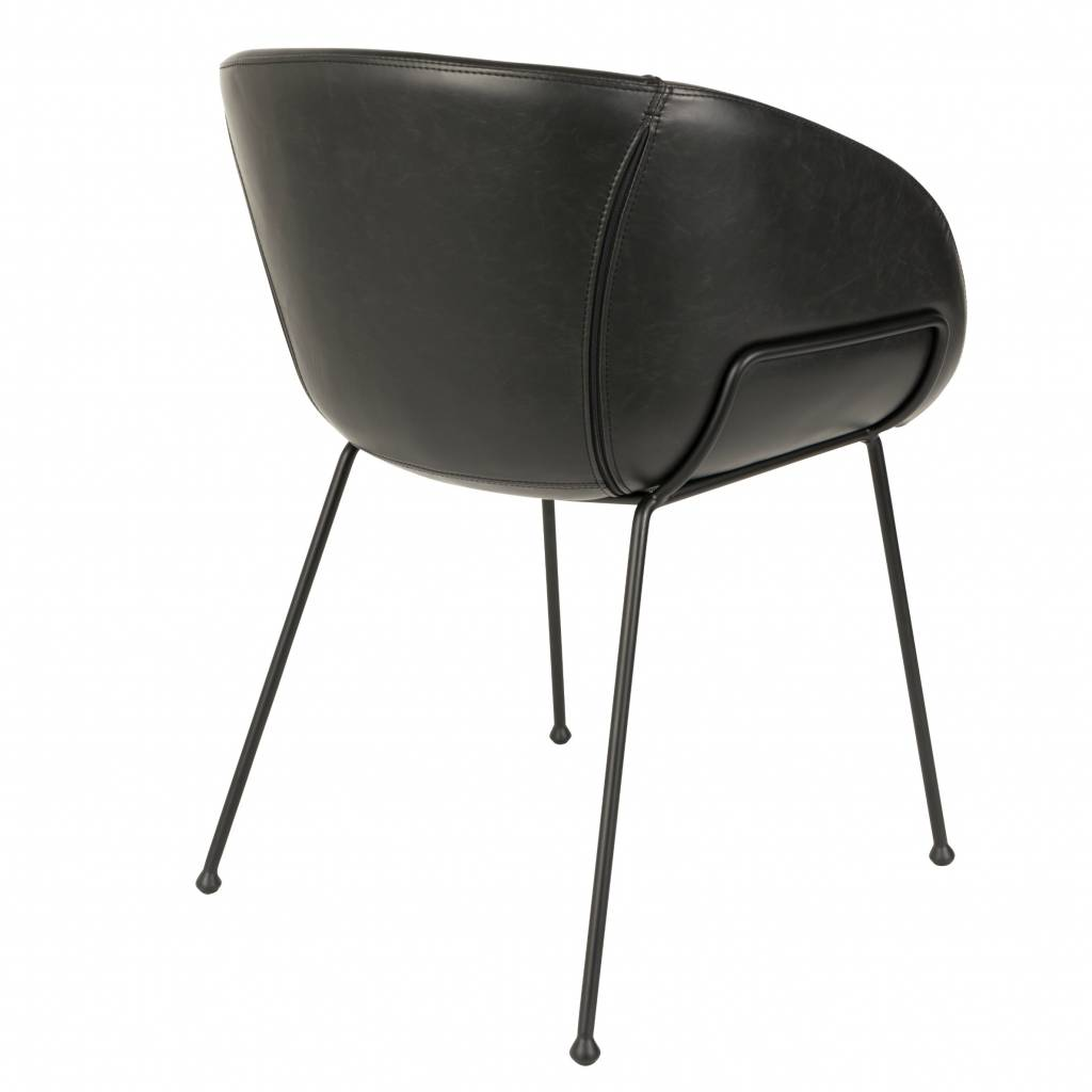 Zuiver Dining Chair Feston Black Artificial Leather 54 5x53x88 5cm Lefliving Com