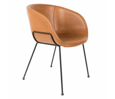 Zuiver Cena de la silla de cuero marrón Feston 54,5x53x88,5cm