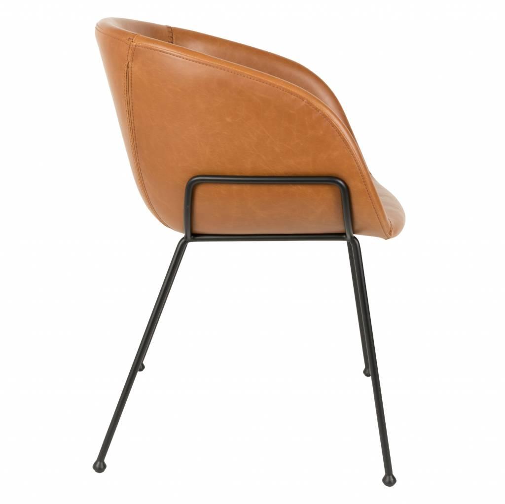 Zuiver Sedia da pranzo Feston 54,5x53x88,5cm pelle marrone ...