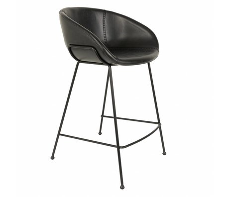 Zuiver Barstool Feston black artificial leather 54,5x53x88,5cm