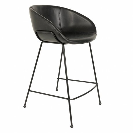 Zuiver Barhocker Feston schwarzes Kunstleder 54,5x53x88,5cm