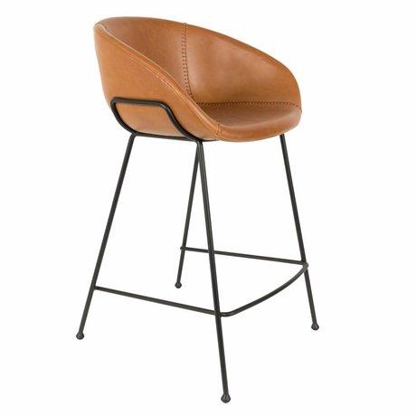 Zuiver Taburete de cuero marrón Feston 54,5x53x88,5cm