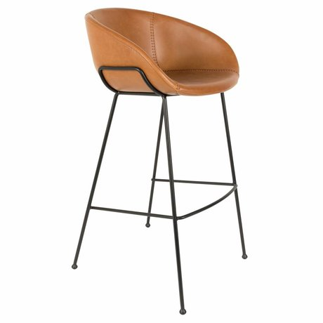 Zuiver Bar chair Feston brown leather 54,5x53x98,5cm