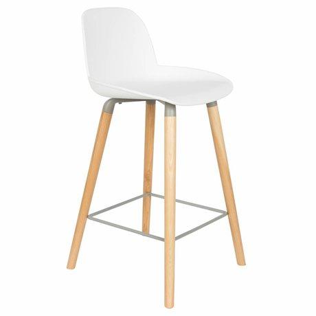 Zuiver Bar chair Albert Kuip counter white plastic wood 45x47,5x89cm