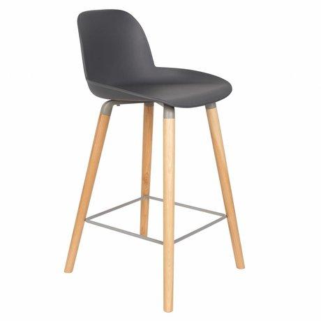 Zuiver Bar chair Albert Kuip counter dark gray plastic wood 45x47,5x89cm