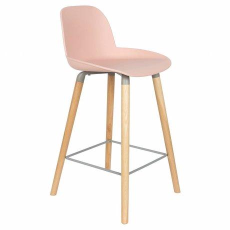 Zuiver Bar chair Albert Kuip counter pink plastic wood 45x47,5x89cm