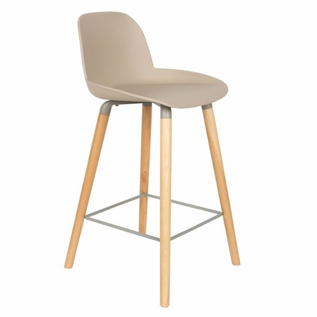 Zuiver Bar chair Albert Kuip counter taupe brown plastic wood 45x47,5x89cm