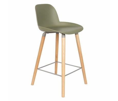 Zuiver Bar chair Albert Kuip counter green plastic wood 45x47,5x89cm
