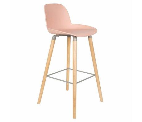 Zuiver Bar chair Albert Kuip pink plastic wood 50x48x99cm