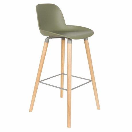 Zuiver Bar chair Albert Kuip green plastic wood 50x48x99cm
