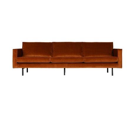 BePureHome De 3 plazas sofá-óxido del rodeo de terciopelo naranja 85x277x86cm terciopelo