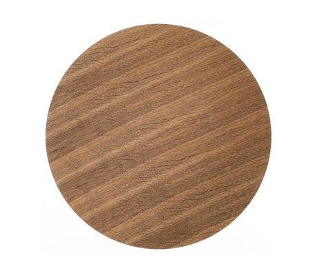 Ferm Living Panel de madera para la canasta de metal chapado en roble, marrón, Ø 50 cm