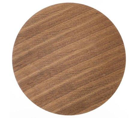 Ferm Living Panel de madera para la canasta de metal chapado en roble, marrón, Ø 60 cm
