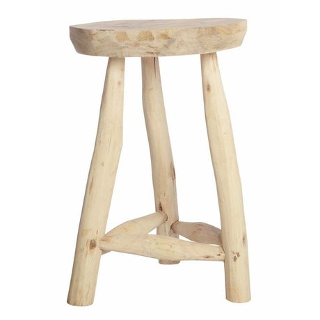 Housedoctor Stool made of bare wood, H48CM Ø31cm