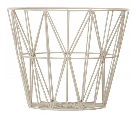Ferm Living Panier en fer avec revêtement en poudre en trois tailles, gris, 40x35cm, 50x40cm, 60x45cm