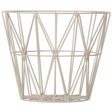 Ferm Living Basket made of iron with powder coating in three sizes, gray, 40x35cm, 50x40cm, 60x45cm