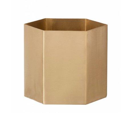 Ferm Living Pot 'hexagon' of copper, copper matte, Ø10 x9m