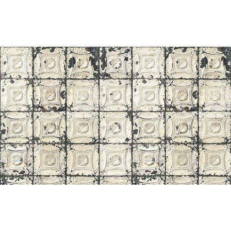 Merci Brooklyn Latas wallpaper, gris / crema Tin-01