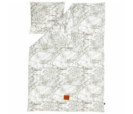 Ferm Living S Marble 'Feuilles coton, gris / blanc, 140x200 cm - Adultes