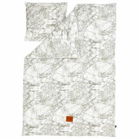 Ferm Living Ark 'Marble' bomuld, grå / hvid, 140x200 cm - Adult