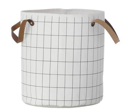 Ferm Living Cesta de cuadrícula, negro / blanco, 35x40cm