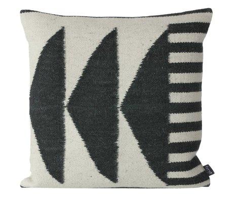 Ferm Living Oreillers Kilim noir Triangles, noir / gris, 50x50cm
