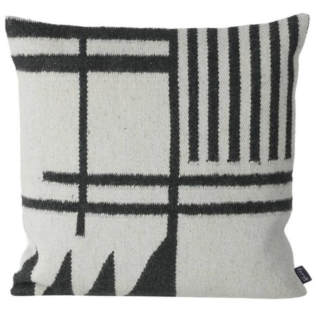 Ferm Living Almohadas Kilim Negro Lines, negro / gris, 50x50cm