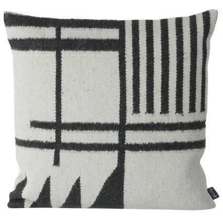Ferm Living Oreillers Kilim noir Lines, noir / gris, 50x50cm
