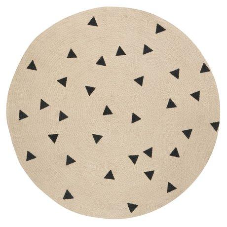 Ferm Living Carpet Triangle round, natural brown / black, Ø100cm