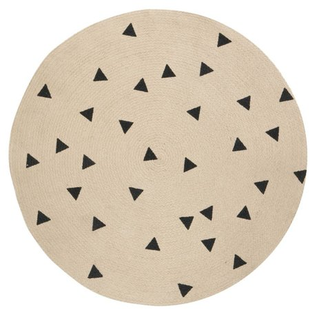 Ferm Living Moquette Triangolo rotondo, marrone naturale / nero, Ø100cm