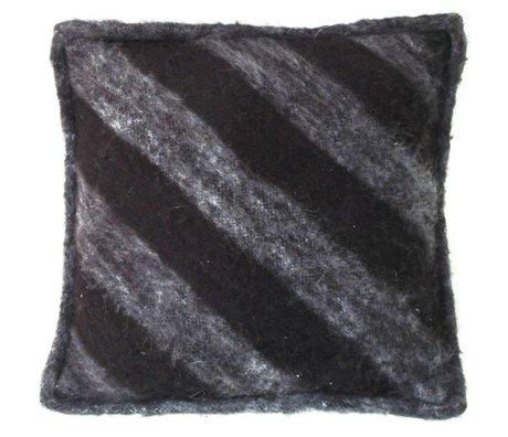 HK-living Cushion in wool, black / gray, 50x50cm