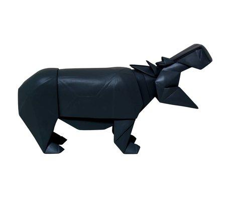 HK-living Nilpferd geo aus Holz, schwarz, 35x9,5x19cm