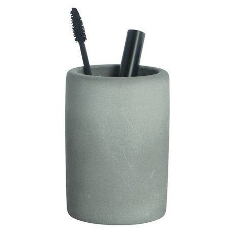 Housedoctor Toothbrush holder of cement, gray, Ø7,6x11,3cm