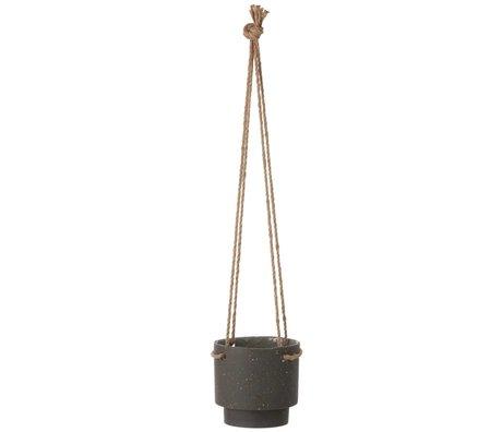 Ferm Living Appendiabiti Pianta in vaso di pietra e corda, Ø15x14,4cm