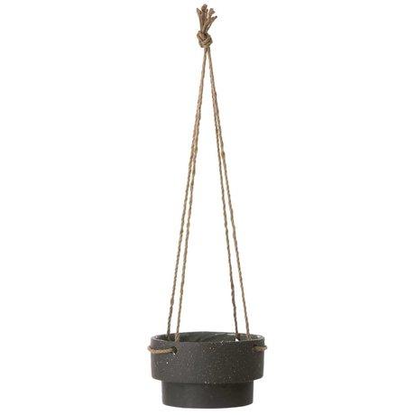 Ferm Living Appendiabiti Pianta in vaso di pietra e corda, Ø21,5x13cm