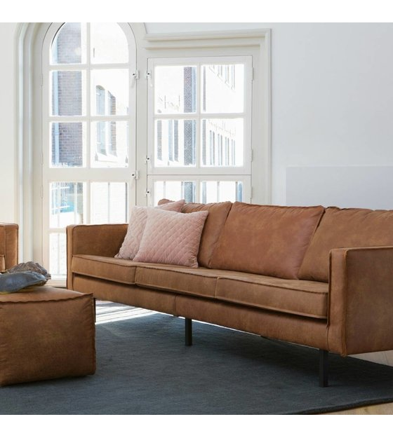 bank rodeo 3 seat cognac brown leather 78x274x87cm - lefliving