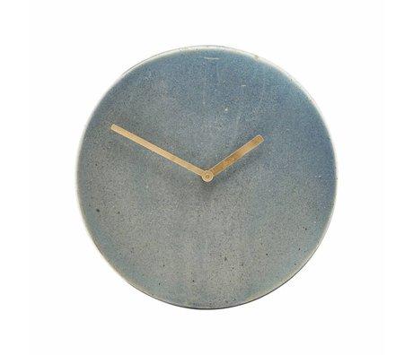 Housedoctor Metro blå ur grå keramik Ø22cm