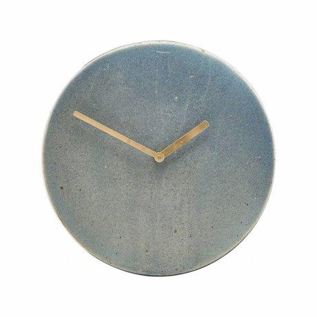 Housedoctor Uhr Metro blau-grau Steingut Ø22cm