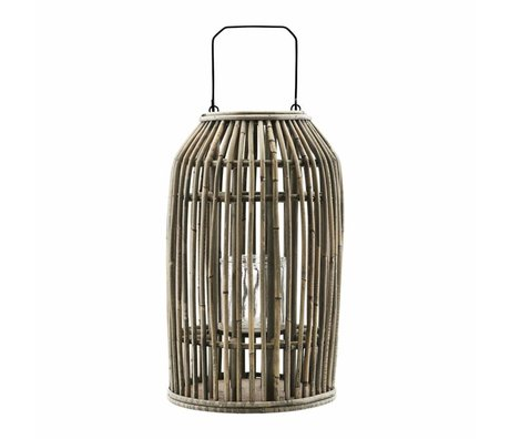 Housedoctor Lantern Ova nature Rotan glass metal Ø25x42cm