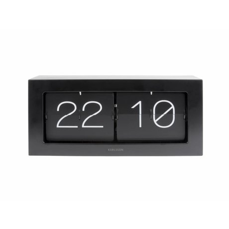 Karlsson Flip Clock Boxed sort stål 17,5x37cm